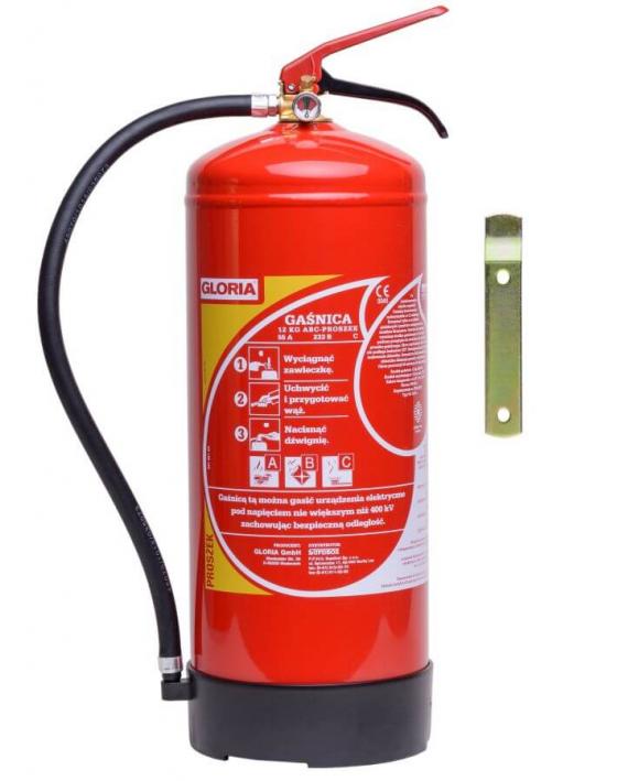 Gaśnica Proszkowa 12kg GP-12x ABC z wieszakiem do 400 kV typ: PD12